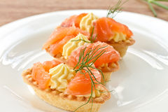 Tartlets with salted salmon Royalty Free Stock Image