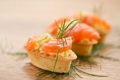 Tartlets with salted salmon Royalty Free Stock Photo