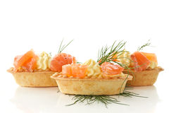 Tartlets with salted salmon Stock Images