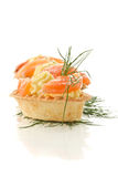 Tartlets with salted salmon Stock Photo