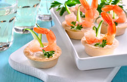 Tartlets with shrimps Stock Photos