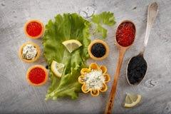 Tartlets som fylls med röd och svart kaviar- och ost- och dillsallad på den vita plattan mot silverträbakgrund Royaltyfria Bilder