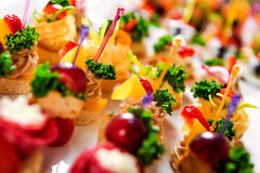 Tartlets with various fillings Royalty Free Stock Photo