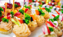 Tartlets with various fillings Royalty Free Stock Photography