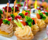 Tartlets with various fillings Royalty Free Stock Images