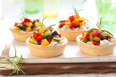 Tartlets with vegetables and cheese Royalty Free Stock Photography