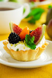 Tartlets with whipped cream Royalty Free Stock Image