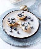 Tartlets Wit Ricotta And Blueberries Stock Photo