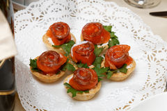 Tartlets z czerwieni pietruszki i ryba liśćmi Zdjęcie Royalty Free