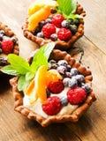 Tartlets z serem i jagodami Obraz Stock