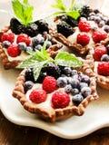 Tartlets z serem i jagodami Zdjęcia Stock