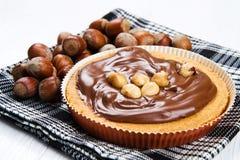 Tartlette with hazelnut cream Stock Images