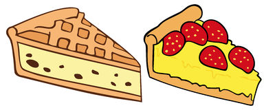 Tarts. Illustration of two tarts slice Royalty Free Stock Images