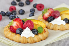 Tarts with berries. Cottage cheese cream tarts with a slices of berries and fruits Stock Photography