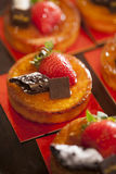 Tarts with chocolate and strawberry Stock Photo