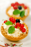 Tarts  with cottage cheese and berries Stock Photo