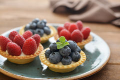 Tarts with fresh berries Stock Photos
