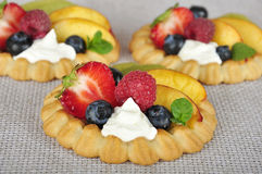 Tarts with fruits. Cottage cheese cream tarts with a slices of berries and fruits Royalty Free Stock Image