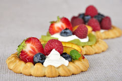 Tarts with fruits. Cottage cheese cream tarts with a slices of berries and fruits Royalty Free Stock Photography