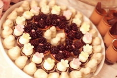 Tarts with fruits and marzipan Stock Photo