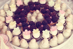 Tarts with fruits and marzipan Royalty Free Stock Photos