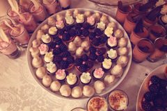 Tarts with fruits and marzipan Royalty Free Stock Images