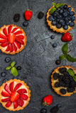 Tarts with lemon cream and fresh berries Royalty Free Stock Images