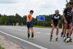 Tartu/Εσθονία - 26 Αυγούστου 2018: Ευθύγραμμος μαραθώνιος πατινάζ Tartu στοκ εικόνα