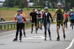Tartu/Estonia - 26 agosto 2018: Maratona pattinante in-linea di Tartu fotografia stock libera da diritti