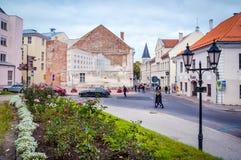 Tartu Estonia Obrazek Univercity na fasade dom Septemb zdjęcie stock
