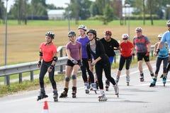Tartu, Estonia/- 26 2018 Sierpień: Tartu Inline Łyżwiarski maraton obraz royalty free