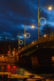 Tartu Kroonuaia sild. Kroonuaia bridge in Tartu in the evening with lights Royalty Free Stock Photo