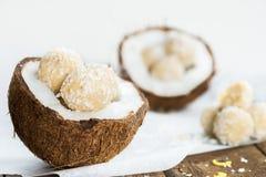 Tartufi crudi della noce di cocco e del limone del vegano nella noce di cocco Shel fotografia stock libera da diritti