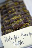 Tartufi del marzapane del pistacchio Fotografie Stock