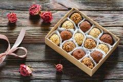 Tartufi e rose di cioccolato Fotografia Stock