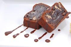 tartufo della torta di browine con la salsa di cioccolato Fotografia Stock