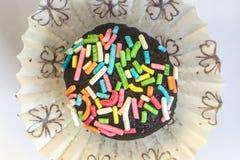 Tartufo di cioccolato con le praline colorate Fotografia Stock