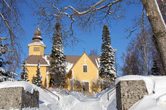 Tarvasjoki Church in Finland. The wooden Tarvasjoki Church in Tarvasjoki, Finland in February 2011. It was completed in 1779 Royalty Free Stock Photos