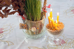 Tarwe en kaarsen stock foto's