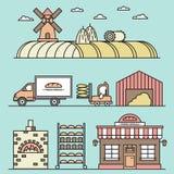Tarwe het oogsten procédé illustratie royalty-vrije illustratie