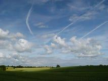 tarwe + wolken stock foto