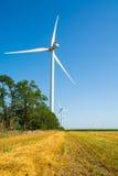 Tarwegebied en ecomacht, windturbines Royalty-vrije Stock Afbeeldingen