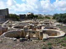Tarxien świątynie są Malta powikłanym siecią świątynie obrazy stock