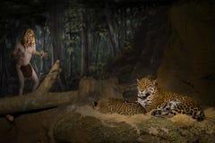 Tarzan, человек обезьяны, король джунглей, большого кота Стоковые Фотографии RF