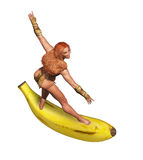 Tarzan Jane Surfing Banana Royalty-vrije Stock Foto