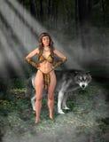 Tarzan Woman, Jungle Girl, Wolf Royalty Free Stock Photography