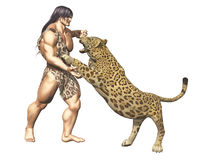 Tarzan wrestles with big cat Royalty Free Stock Photo