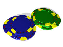 Tas bleu et vert des jetons de poker Images stock