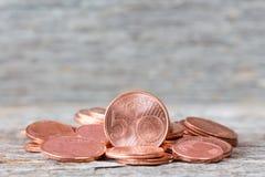 Tas d'euro cent Photo libre de droits