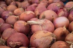 Tas d'oignon rouge sur la stalle du marché à vendre Image stock